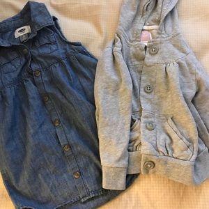 Sleeveless denim dress and button hoodie